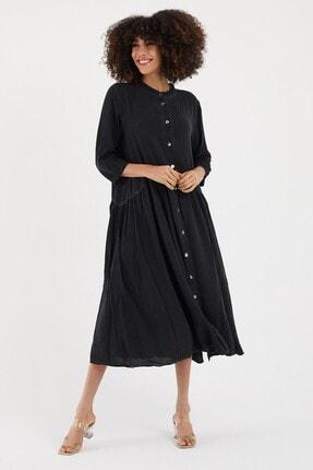 Cotton Mood Kadın Sıyah Yıkamalı Hakim Yaka Düğmeli Salash Uzun Elbise 3