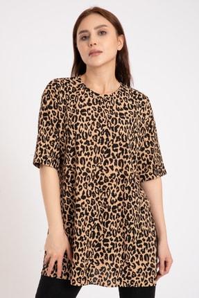 GİYSA Kadın Kahverengi Duble Kol Batik Kaşkorse Leopar T-shirt 3682 0