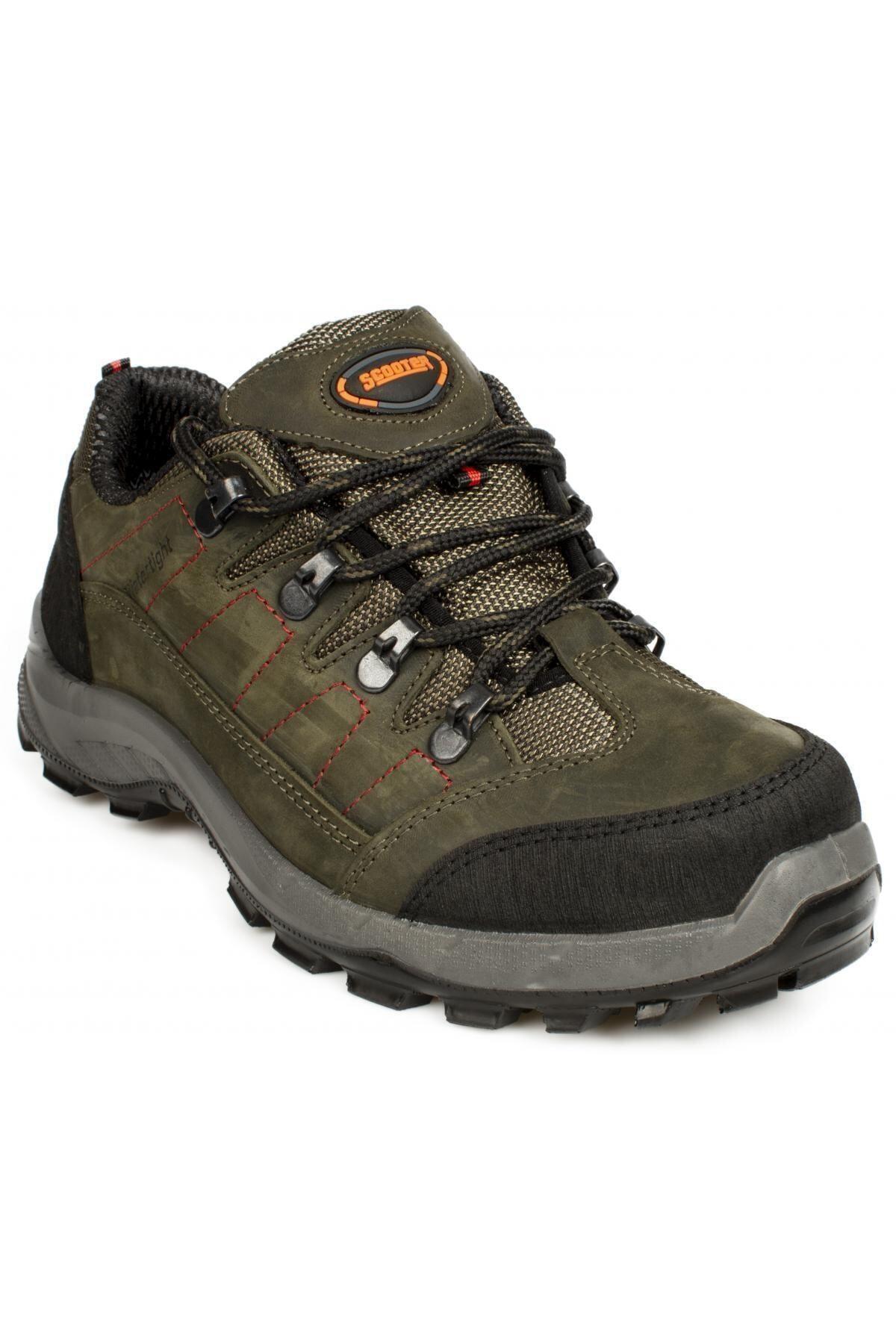Su Geçirmez Hakiki Deri Yeşil Erkek Bağcıklı Outdoor Ayakkabı M1233cy