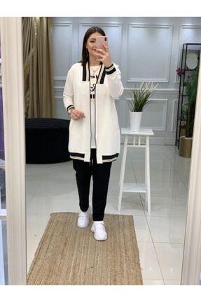 Camelya Fashion Kadın Beyaz Tesettür 3'Lü Eşofman Takım 0