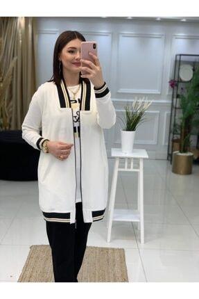 Camelya Fashion Kadın Beyaz Tesettür 3'Lü Eşofman Takım 2