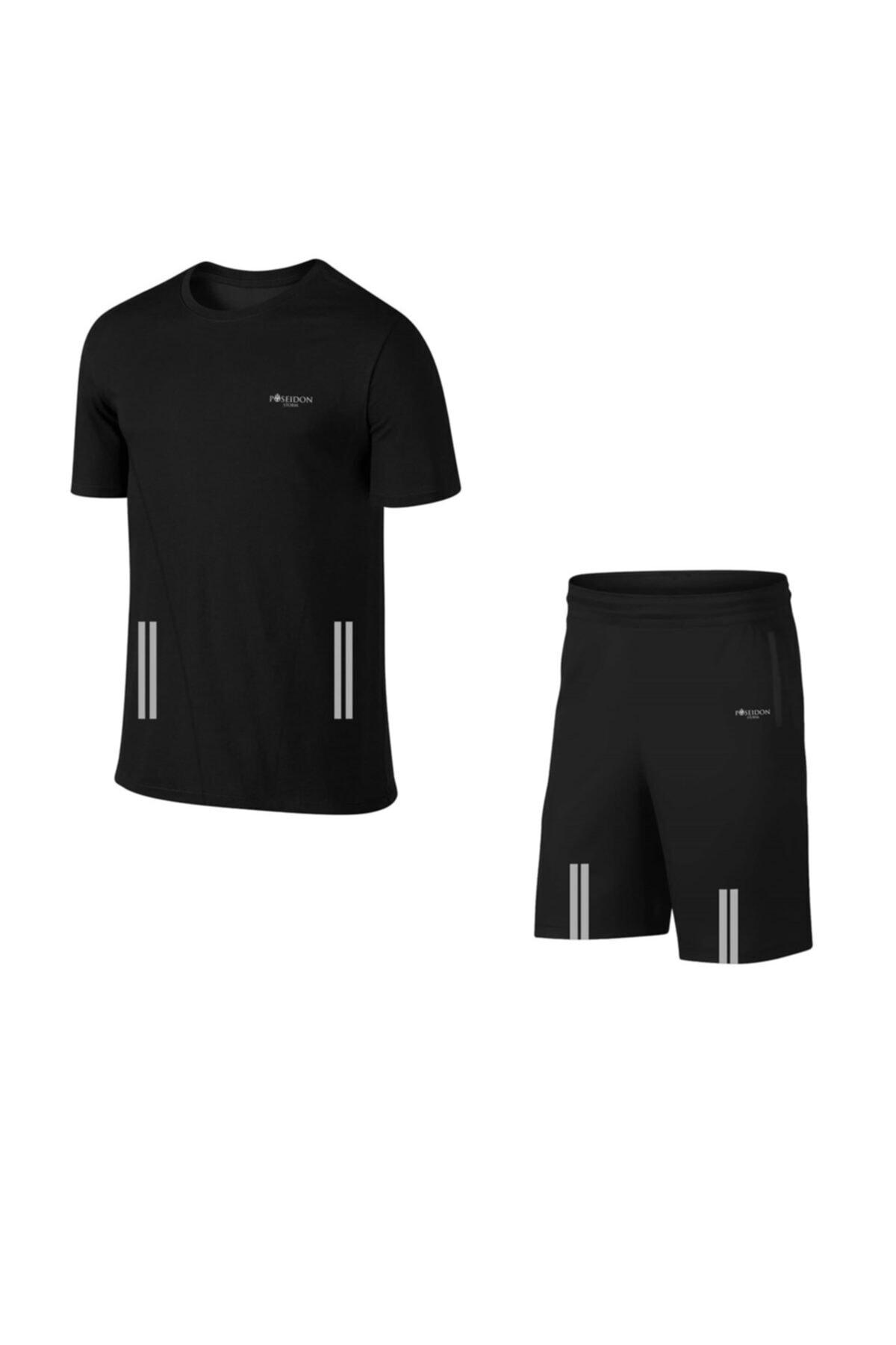 Erkek Siyah Günlük Sporcu Tişört Ve Şort Takımı S-3xl - Flexo Çift Şerit - Md7