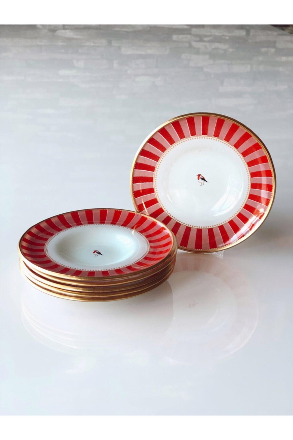 Kırmızı Pembe Kuşlu Çay Tabağı 12,5 cm 6`lı