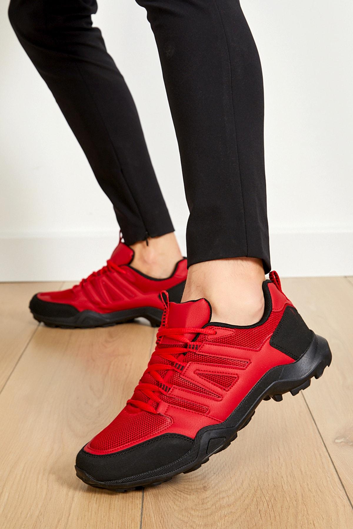 Unisex Kırmızı Siyah Ortopedik Konforlu Outdoor Spor Ayakkabı