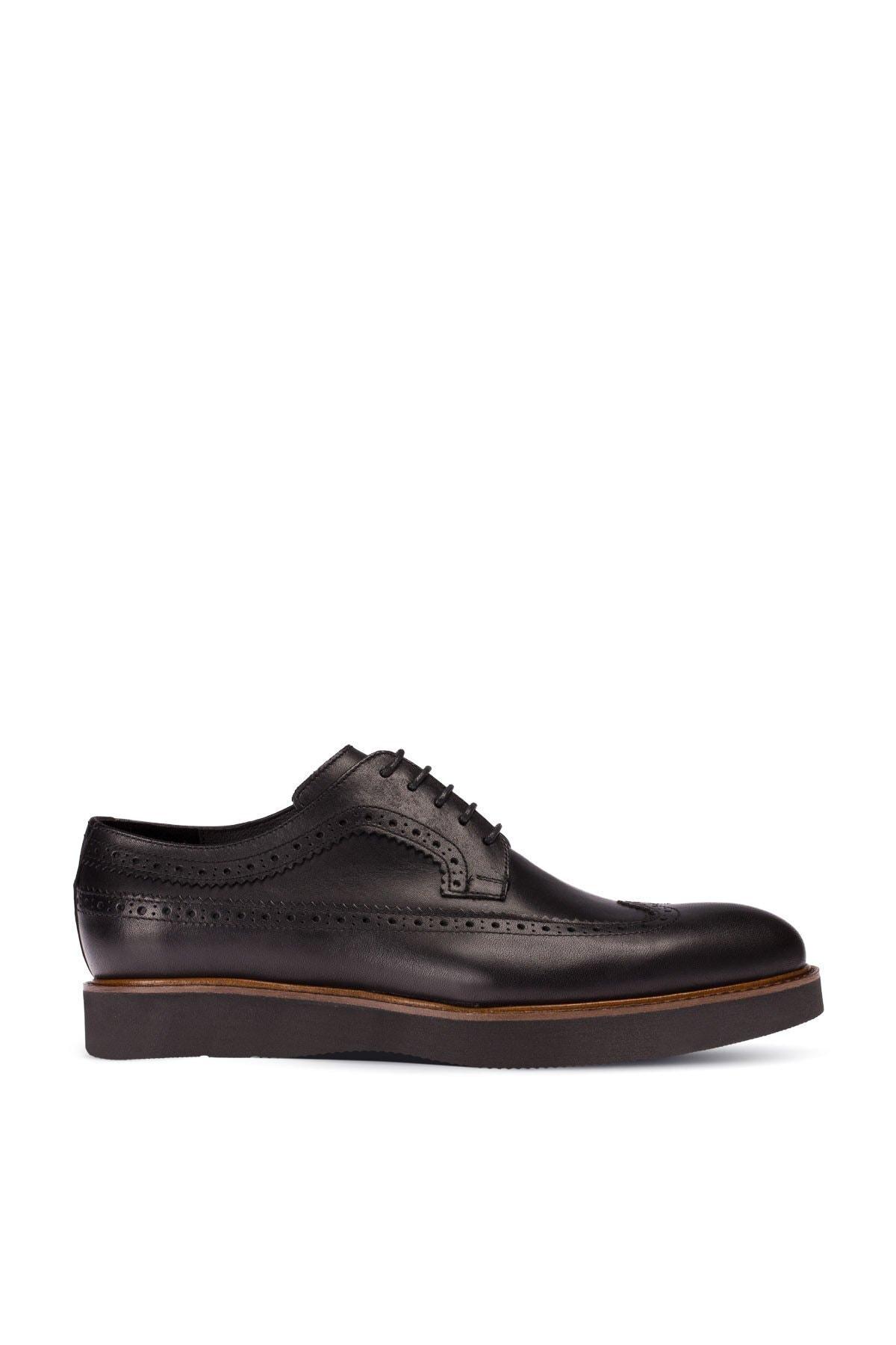 Hakiki Deri Siyah Günlük Erkek Ayakkabi 01293MSYHE30