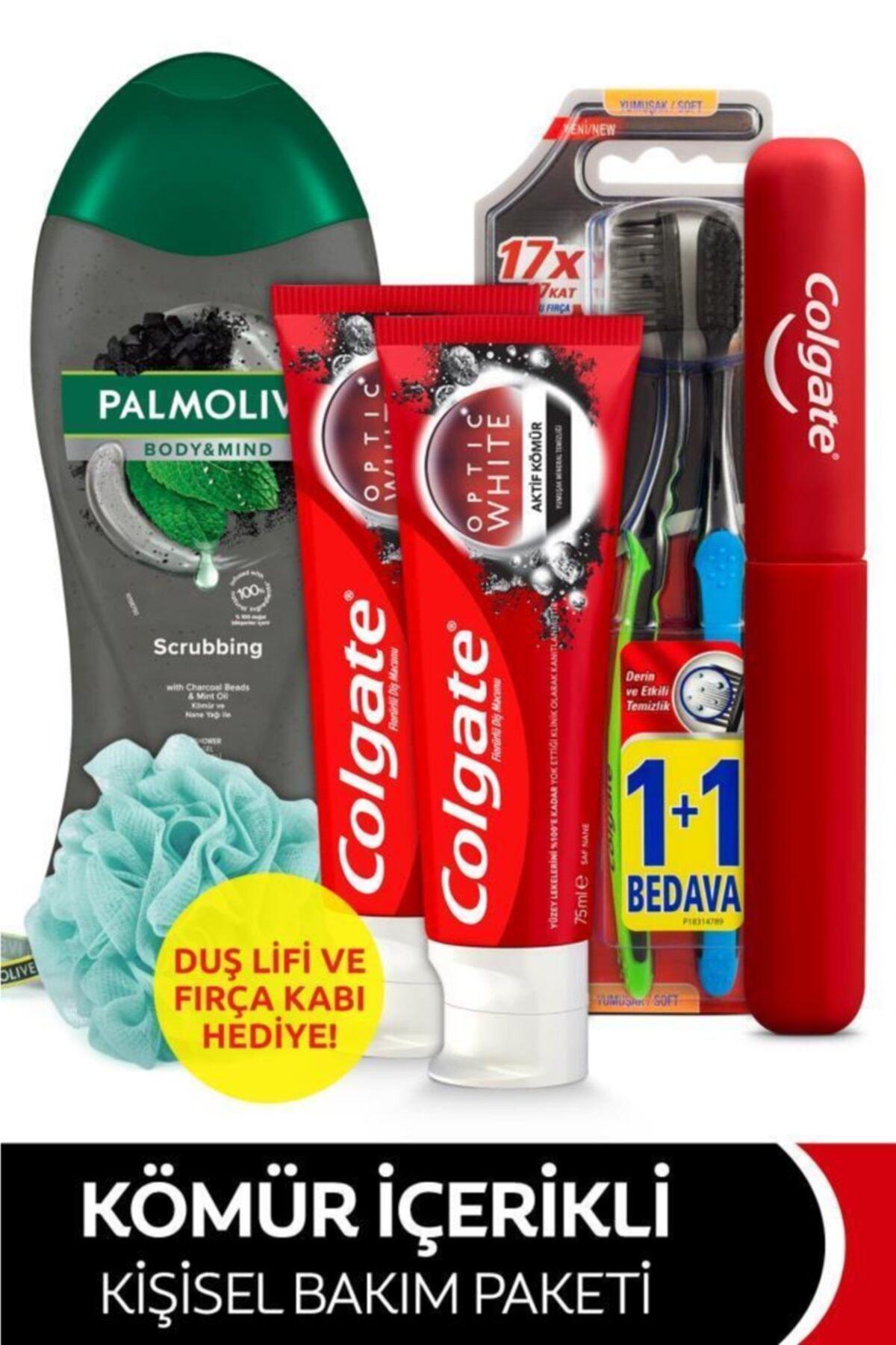 Diş Macunu 75 Mlx2,yumuşak Diş Fırçası 1+1,palmolive Duş Jeli 500ml+fırça Kabı&duş Lifi Hedi