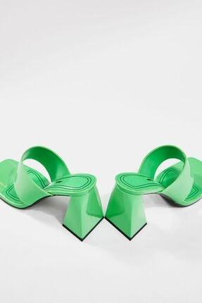 Bershka Kadın Yeşil Blok Topuklu Sandalet 2