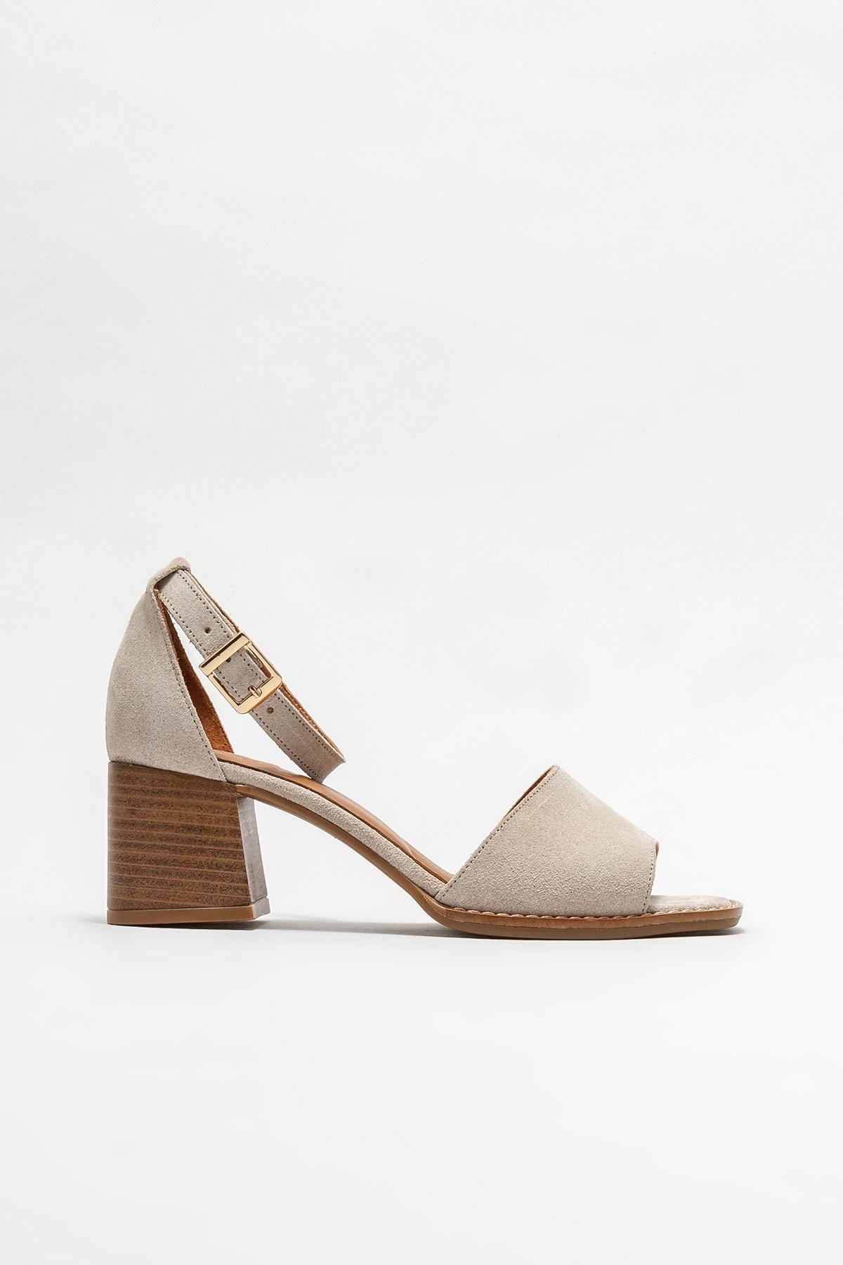 Bej Deri Kadın Topuklu Sandalet
