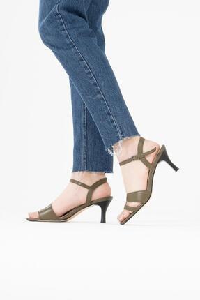CZ London Kadın Yeşil Hakiki Deri Bilekten Bağlamalı Topuklu Sandalet 2