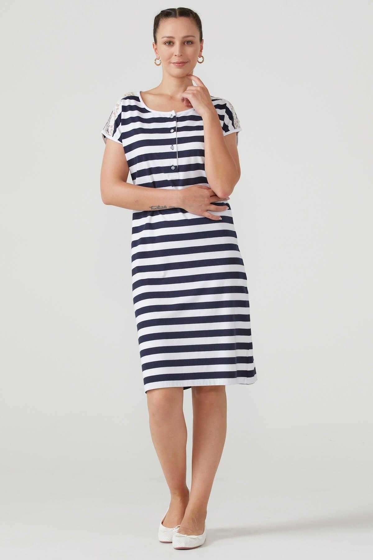 Kadın Omuzu Dantel Detaylı Çizgili Elbise - Lacivert