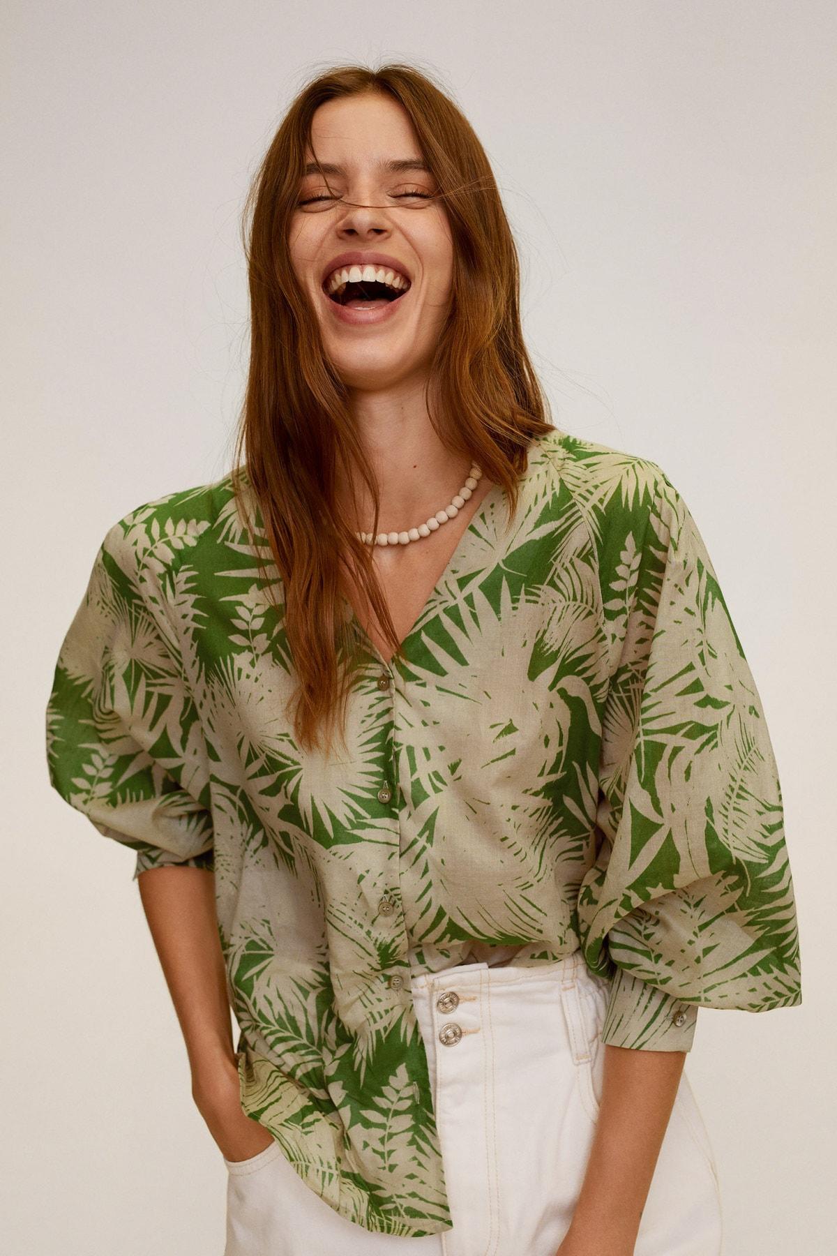 Mango Kadın Yeşil Bluz 67049215