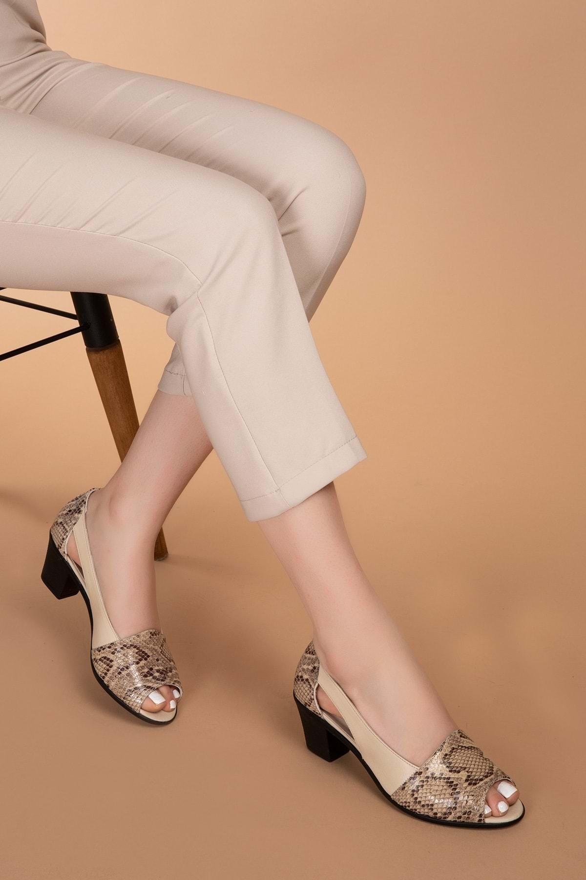Kadın Vizon Hakiki Deri Yılan Desen Ayrıntılı Topuklu Ayakkabı Vdt.261 - - 40