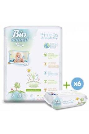 Sleepy Bio Natural Bebek Bezi 2 Numara Mini 204 Adet 6x40 Bio Natural Islak Havlu 1