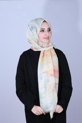 13125-30 Batik Desenli Sarı Şal Tesettür Giyim SAL-6980