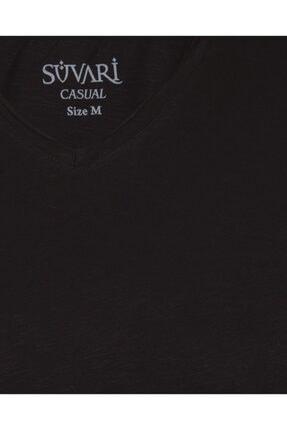 SÜVARİ Dar Kalıp V Yaka Likralı T-shirt 2'li 3