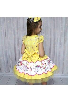 Riccotarz Kız Çocuk Unicorn Pony Omuz Tüylü Sarı Elbise 2