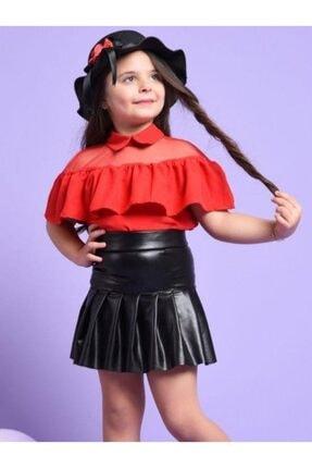 Riccotarz Kız Çocuk Şapkalı Kırmızı-siyah Deri Etekli Takım 2