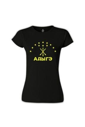 Lord T-Shirt Kadın Siyah Adige Bayrağı Kafkasya Çerkes Tshirt BS-1029 0