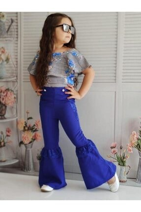 Riccotarz Kız Çocuk Güpürlü Ispanyol Paça Mavi Alt Üst Takım 0