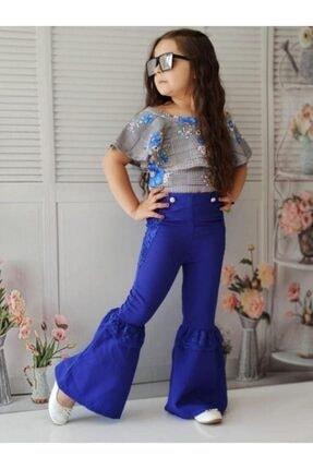 Riccotarz Kız Çocuk Güpürlü Ispanyol Paça Mavi Alt Üst Takım 3