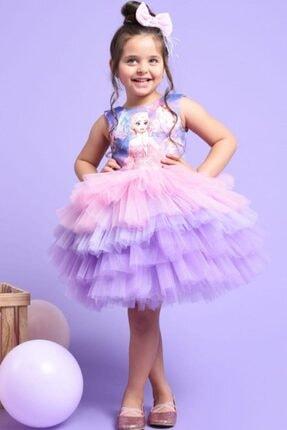 Riccotarz Kız Çocuk Elsa Tütülü Katkat Renkli Elbise 0