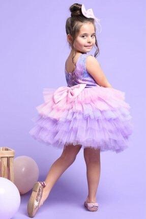 Riccotarz Kız Çocuk Elsa Tütülü Katkat Renkli Elbise 1