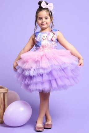 Riccotarz Kız Çocuk Elsa Tütülü Katkat Renkli Elbise 2