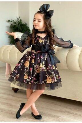 Riccotarz Kız Çocuk Black Flowers Tütülü Elbise 2