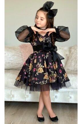Riccotarz Kız Çocuk Black Flowers Tütülü Elbise 4