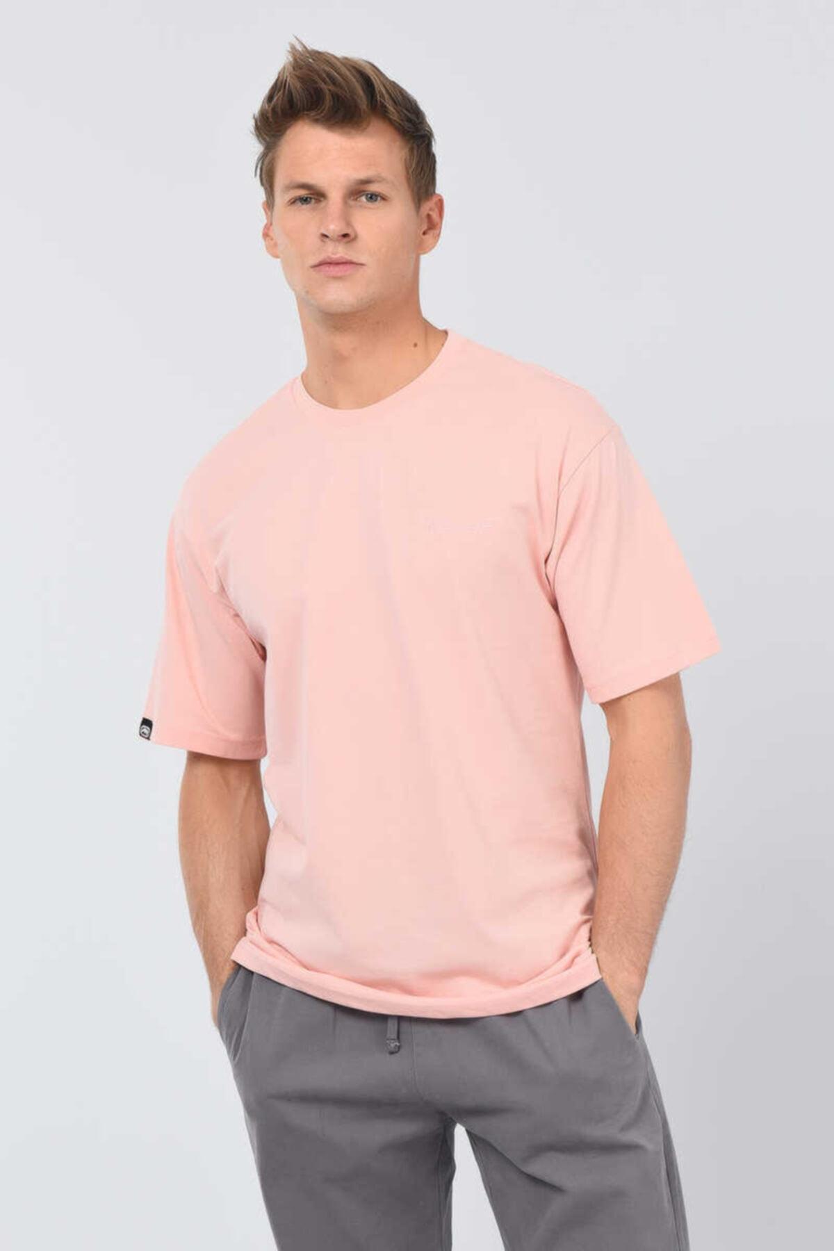 Ferrıs Oversıze Pembe Erkek Bisiklet Yaka Tshirt