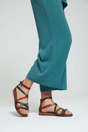Derimod Kadın Kahverengi Deri Sandalet 0