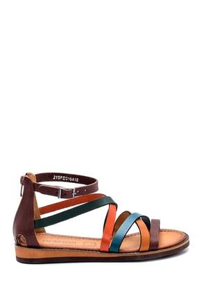 Derimod Kadın Kahverengi Deri Sandalet 1