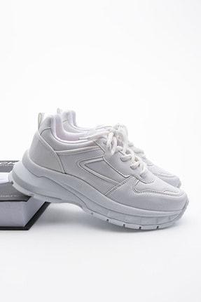 Marjin Kadın Sneaker Dolgu Topuk Spor Ayakkabı Besribeyaz 0