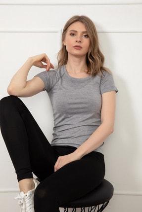 D-Paris Kadın Gri Sporcu T-Shirt 41034744880 3