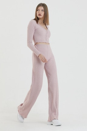 COMEOR Kadın Pembe Önden Düğmeli Uzun Kollu Crop Takım 2