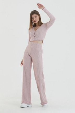 COMEOR Kadın Pembe Önden Düğmeli Uzun Kollu Crop Takım 3
