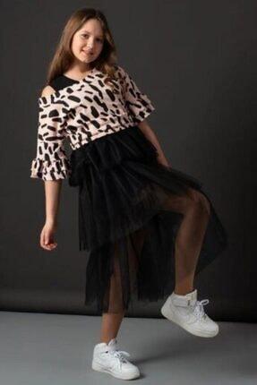 Riccotarz Kız Çocuk Pudra Tişörtlü Tüllü Elbise 2