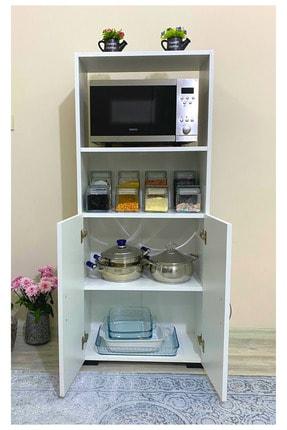 IRMAK MOBİLYA Beyaz Bölmeli Mikrodalga Mini Fırın Mutfak Amaçlı Dolap 2 Kapaklı 2