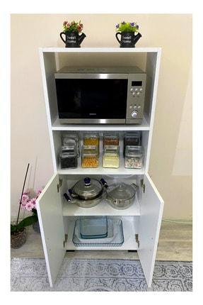 IRMAK MOBİLYA Beyaz Bölmeli Mikrodalga Mini Fırın Mutfak Amaçlı Dolap 2 Kapaklı 3