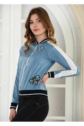 Kadın Mavi Pamuk Saten Fermuarlı Kelebek İşlemeli Ceket CKT00000000007