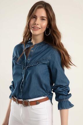 Pattaya Kadın Fırfırlı Uzun Kollu Kot Gömlek Y20s110-3799 2