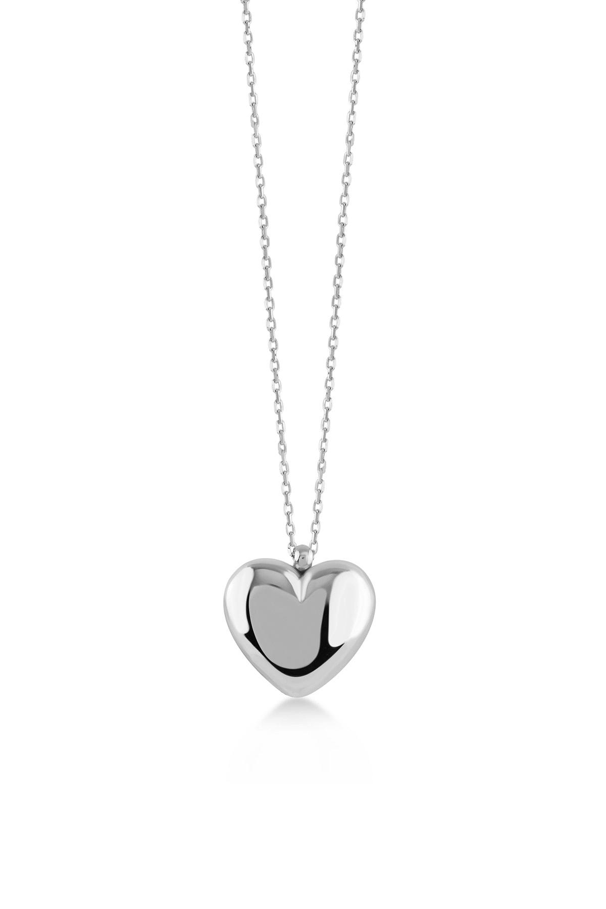 Üç Boyutlu Kalp Silver Kolye