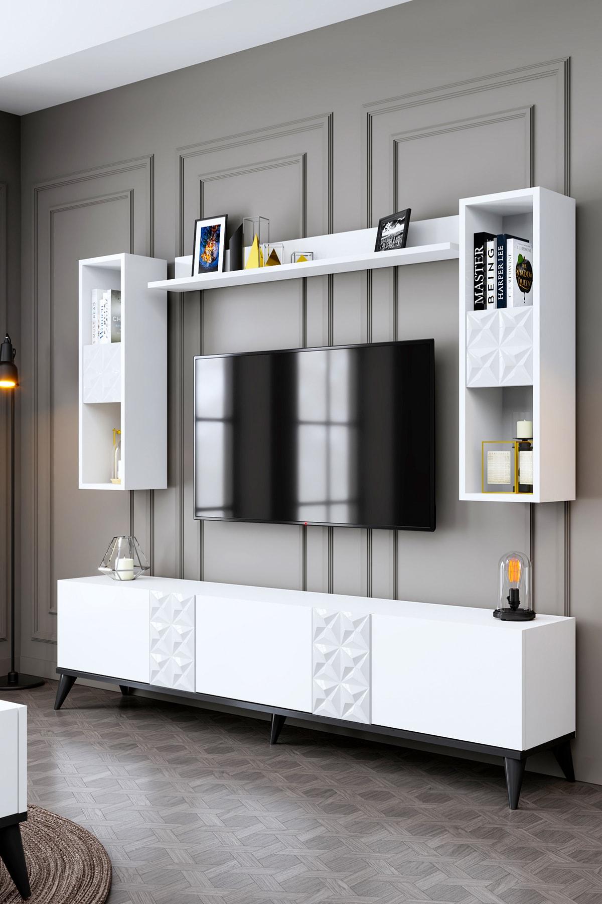 Kristal Beyaz-siyah Tv Ünitesi