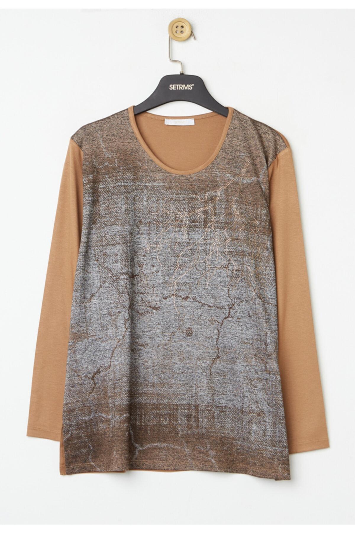 Kadın Camel Anne Penye Bluz