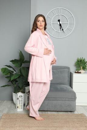BOYRAZ Kadın Pembe Hamile Lohusa Sabahlıklı Pijama Takımı 3'lü 3
