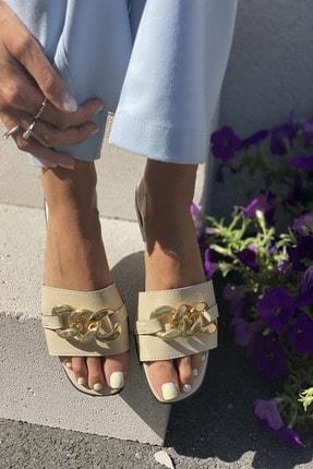 İnan Ayakkabı Kadın Bej Zincirli Terlik 1