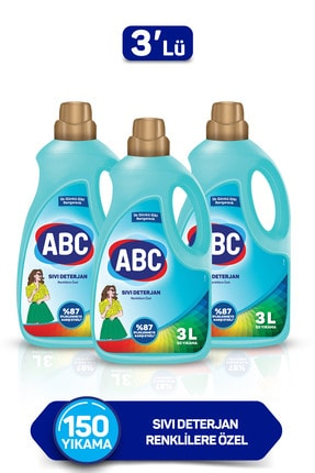 ABC Renklilere Özel Sıvı Deterjan 3 Lt 3'lü Set 0