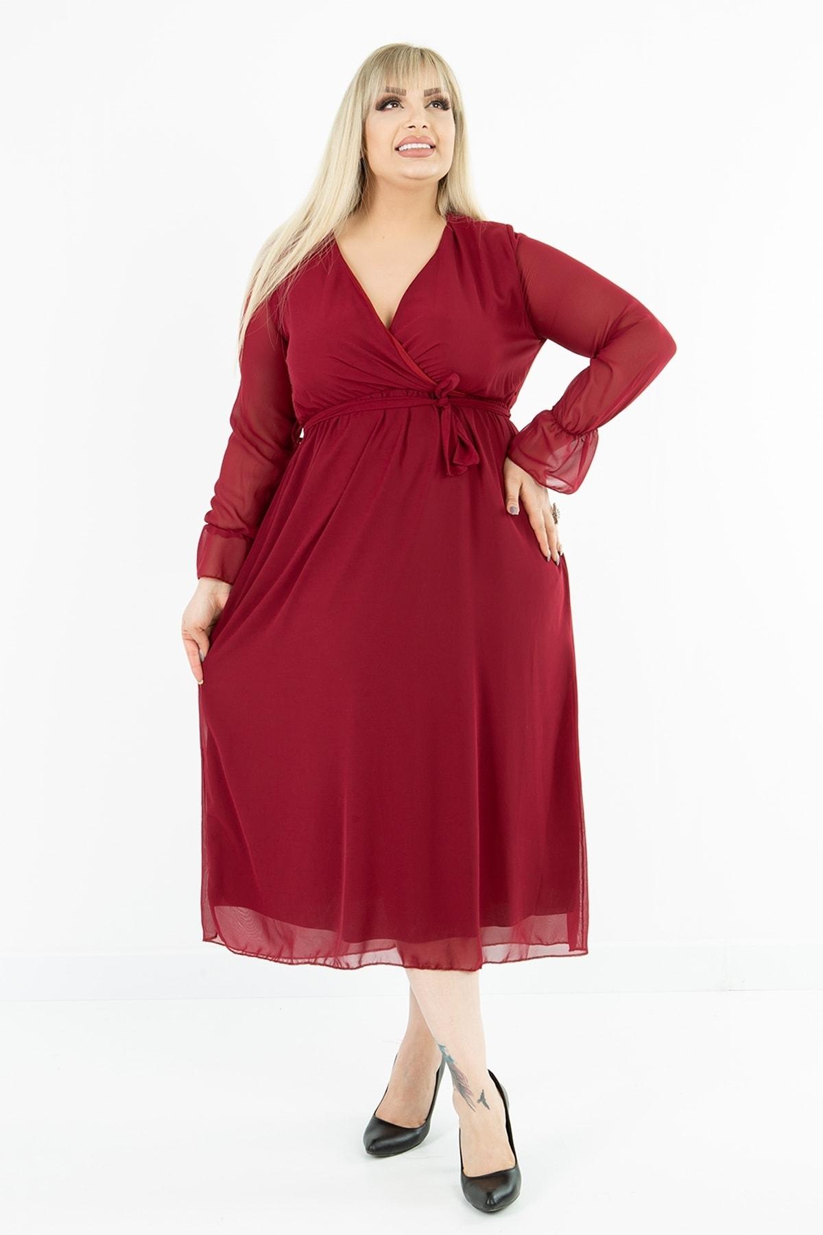 Kadın Büyük Beden Bordo Kruvaze Yaka Astarlı Şifon Elbise