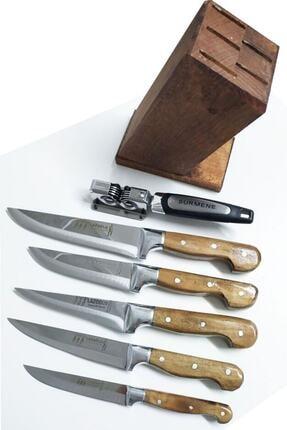 Lazoğlu Sürmene 5'li El Yapımı Profosyonel Mutfak Bıçak Seti Ahşap Kütüklü+bileme Bıçağı+kesme Tahtası 0