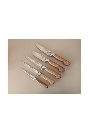 Lazoğlu Sürmene 5'li El Yapımı Profosyonel Mutfak Bıçak Seti Ahşap Kütüklü+bileme Bıçağı+kesme Tahtası 3